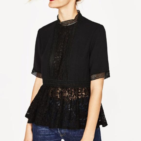 Zara Tops Black Lace Peplum Top Poshmark